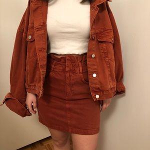 Burnt orange denim skirt